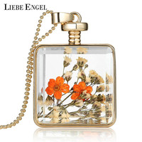 Dry Flowers Collares Transparent Glass Square Pendant Necklace Long Gold Chain Statement Necklace Summer Vintage Fine Jewelry