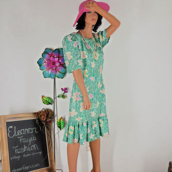 Sze 10 / 12   Jane Singer Silk Swing Dress, 80's does 40's. Vintage Silk Floral Dress, Made in USA