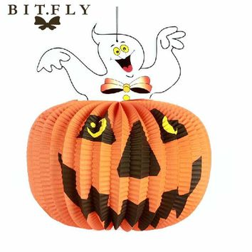 Halloween Party Decoration Animals orange Pumpkin witch Paper Hanging Ornaments Hallowmas Props For Trees Bar DIY Accessories