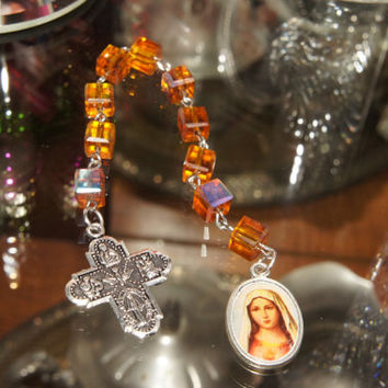 Rosary Chaplet Orange Iridescent Square Beads
