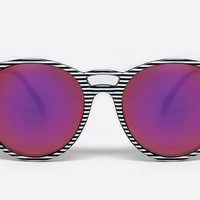 Quay All Cried Out Stripe Sunglasses, Mirror Lenses