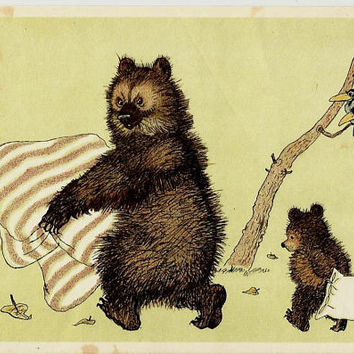 It's time to sleep - Bears,  Magpie, Vintage Russian Postcard Drawing by Golubev, Happy New Year unused print 1964