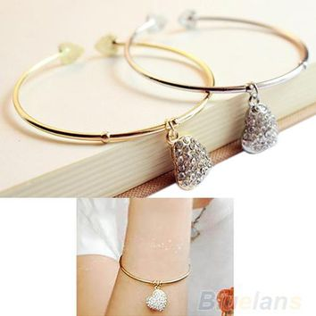 New Women's Simple Style Gold Silver Love Heart Rhinestone Pendant Open Bangle Bracelet 1NP7 6O5T