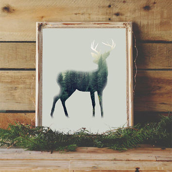 Deer Silhouette in the Forrest Rustic Art Print Rustic Home Decor Forrest Theme Wall Art Printable Art Woodland Theme Art Kids Room Decor