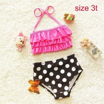 Children's swimsuit girls dot bikini swimwear 2017 2pcs/set bikini girls children toddler Rose swimwear 2t-5
