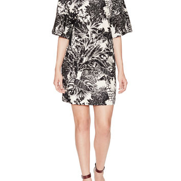 Bicolor Floral Cotton Boxy Dress