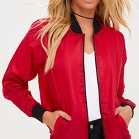 Red Lightweight Bomber Jacket