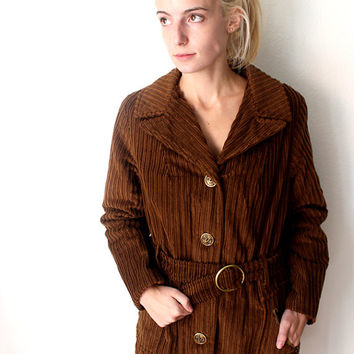 Vintage Brown Corduroy Coat Jacket with Pockets and Asian Lettering Brass Colored Buttons 1970s / Size 14