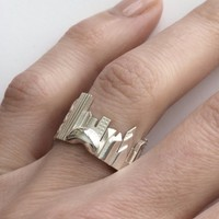 Chicago Cityscape Sterling Silver Statement Ring - Wearable Art!
