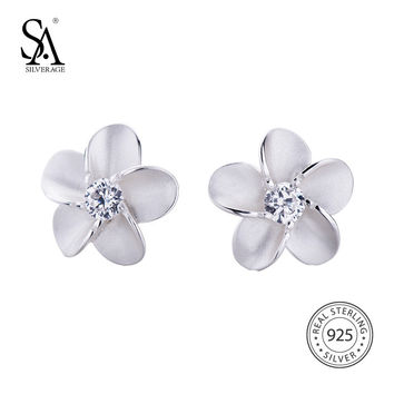 SA SILVERAGE Real 925 Sterling Silver Flower Stud Earrings For Women Fine Jewelry 925 Sterling Silver Stud Earrings Female