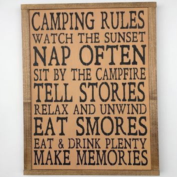 Camping Rules Framed Wood Sign