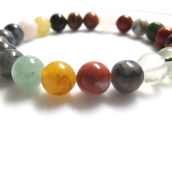 Multi Gemstone Bracelet, Gemstone Bracelet, Gemstone Jewelry, Earth Tones, Mixed Gemstones, Mala Bracelet, Stretch Bracelet,