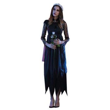 ONETOW 2017 halloween costumes for women Long Maxi  lace Party Dress Beach Dressesvestido de festa cosplay vampire Witches Hot Sale S4