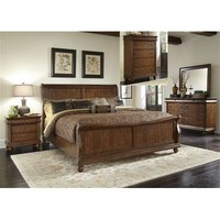 Liberty Furniture Rustic Traditions Sleigh Bed & Dresser & Mirror & Chest & Nightstand in Rustic Cherry Finish