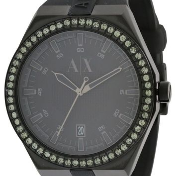 Armani Exchange Black Silicone Crystal Watch AX1217