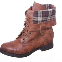 New! Military Combat Boot Fold-over Cuff + Zipper on the Back Multiple Color,Chess-3 Brown 5.5