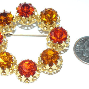 Vintage Rhinestone Brooch, Made In Austria Rhinestone Pin,