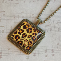 "Leopard Animal Print Tan & Black Square Glass Cabochon Antiqued Brass Geometric Pendant Necklace 27"" Ball Chain #PTTN-9"