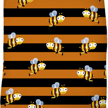 Bee stripes and cartoon bees pattern throw blanket, thick stripes themed fleece blankets