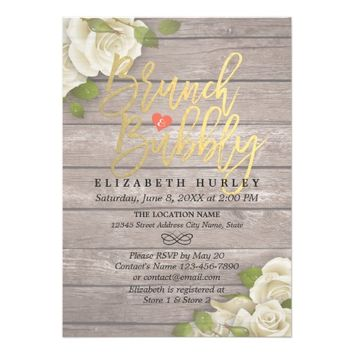 Brunch Bubbly Bridal Shower Floral String Lights Card