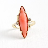 Vintage Coral Ring - 14k Yellow Gold Genuine Salmon Pink Marquise Cut Gem 70s Statement - Retro Size 8 Organic Gemstone 1970s Fine Jewelry