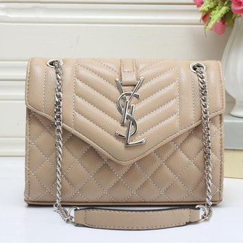 Yves Saint Laurent YSL Women Simple Fashion Quilted Metal Chain Single Shoulder Messenger Bag Handbag