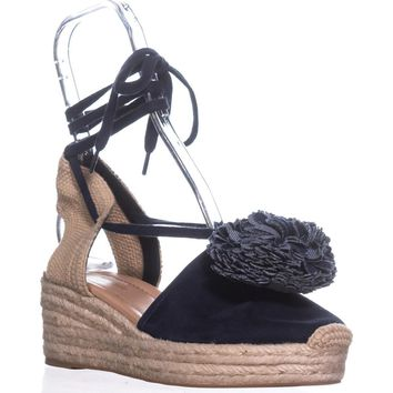 Kate Spade New York Lafayette Platform Sandals, Navy Kid Suede, 8 US