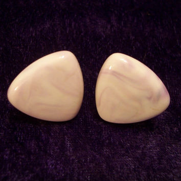 Triangle Light Violet and White Swirl Enamel Earrings.