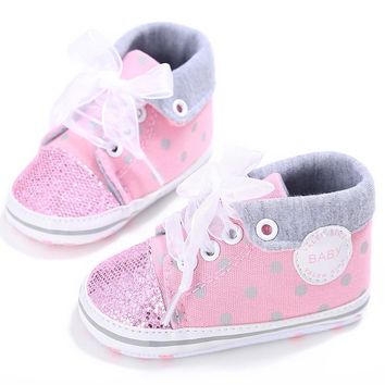 2017 Glitter Baby Girl Sequins Canvas High Cut Lace-up Shoes Sneakers Anti-slip Soft Sole Toddler Spring Shoes for Girls