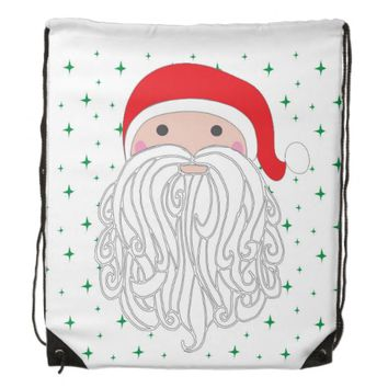 Santa Sparkle Drawstring Backpack
