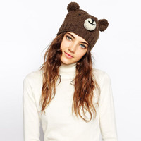 Woman Fashion Bear Wool Knitted Hat With Ears Winter Hat Female Skullies & Beanies