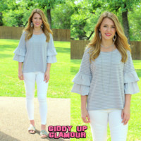 Together Forever Striped Top with Layered Bell Sleeve in Grey - Google Search