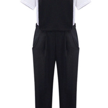 High Waist Pure Color Overalls in Black