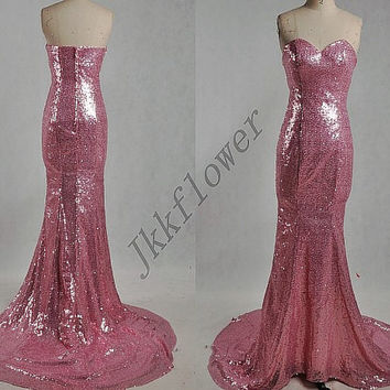 Long Pink Sweetheart Stunning Sequined Prom Dresses,Long Pink Mermaid Evening Dresses,Pink Homecoming Dresses,Bridesmaid Dresses