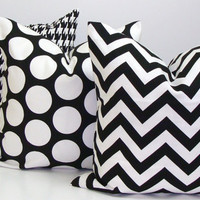Pillows.Black White.SET OF THREE.Chevron.Dots18x18.Decorator Pillow Covers..Printed Fabric Front and Back.Housewares.Home Decor.Polka Dots