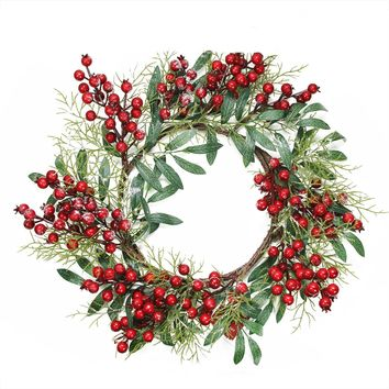 "18"" Frosted Artificial Green Leaves and Red Berries Decorative Christmas Wreath - Unlit"