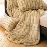 Wildcat Territory Lover Boy Luscious Fur Throw & Pillow in Tawny - 10689 Set - Blankets & Throws - Bed & Bath