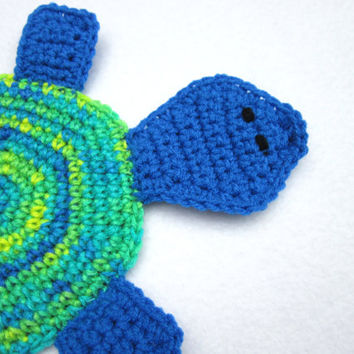Turtle Pot Holder, Hot Pad, Crochet Trivet by Charlene, Blue, Green and Yellow Tortoise Pot Holder