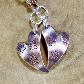 Copper Heart Shaped Dangle Earrings with Paw Design and Iridescent Purple Patina - ER092
