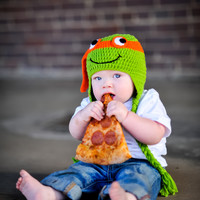 TMNT Orange Michelangelo Inspired Hat - Newborn & Baby Sizes