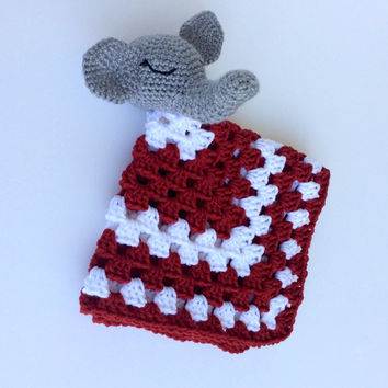 Elephant Crimson Tide Lovey, Roll Tide Security Blanket, Alabama Crimson Tide Snuggle