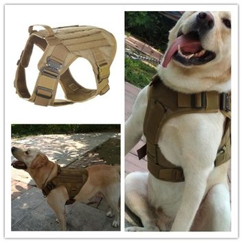 Waterproof 1050D Nylon Molle System Tactical Dog Training  Military Dog Harness Hunting dog Vest Police dog K9 Harness