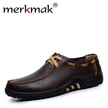 Merkmak New 2017 Handmade Genuine Leather Men Shoes Casual Leisure Mens Flats Male Moccasins Men Oxford Shoes Luxury Brand