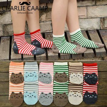 Women Fun Cotton Socks Fashion New All Season Cartoon Cat Pattern Series Ladies Trend Harajuku Personality Casual Cute SocksF249