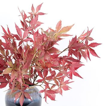 """Artificial Red Maple Leaf Stem 29"""" Tall"""