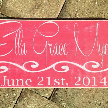 14x8 Custom Baby Name Birth Wood Sign