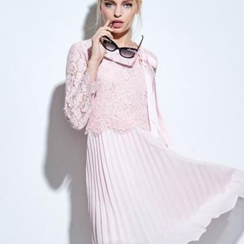 Pink Lace Patchwork 3/4 Sleeve Women's Swing Dress (Plus Size Available)