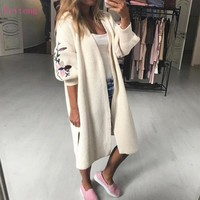 2017 Autumn Winter Fashion Women Cardigan Lady Long Sleeve Loose Pocket Long Knitted Sweater Female Cardigan Outwear Coat