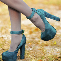 Larger Than Life Heels: Jade/Green | Hope's