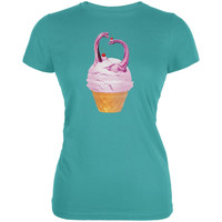 Ice Cream Cone Brachiosaurus Sea Blue Juniors Soft T-Shirt